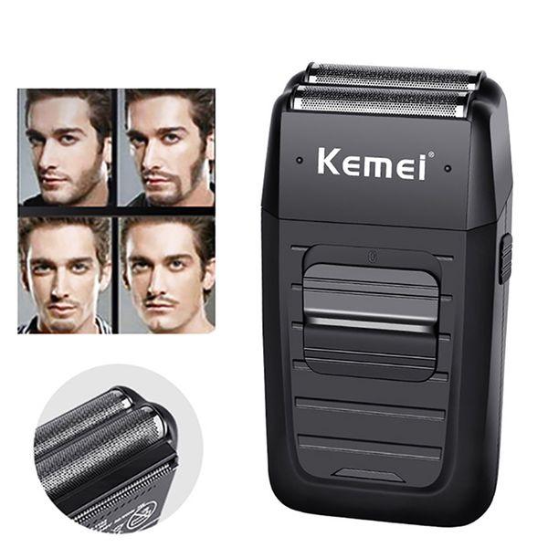 kemei rechargeable cordless shaver for men hair shaver twin blade reciprocating shaving machine beard razor face hair trimmer
