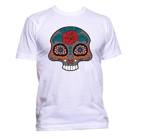 Sugar Skull Grey Coloured With Flower T-Shirt Mens Womens Unisex Fashion Slogan Classic Quality High t-shirt