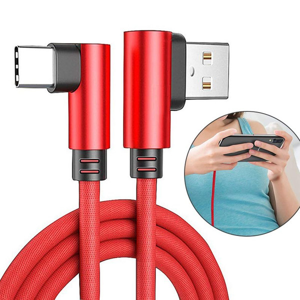 90 Degree Double Elbow Cellphone Cable Fast Charger Sync Data Cable Cloth Micro USB Type C Cble Charging Cables For Android Samsung Huawei