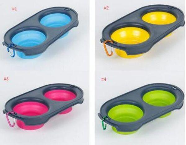 Alimentation Pet Food Pliable bols silicone 4 couleurs Cat Double Chargeur Bowl Voyage Eco Friendly Cat produits pour les chiens Pliable