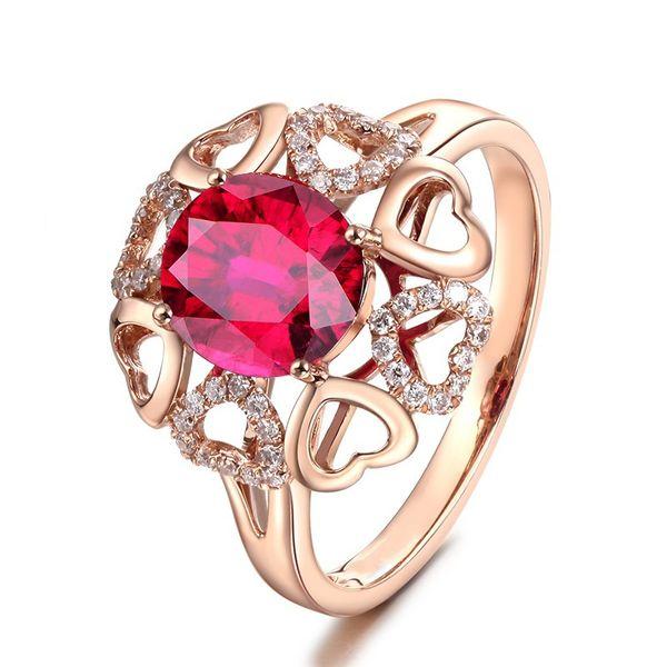 R438 Venta al por mayor-Joyas de moda Grandes anillos cratales de color rojo Boda simulada Anillo de regalo de oro rosa para el corazón