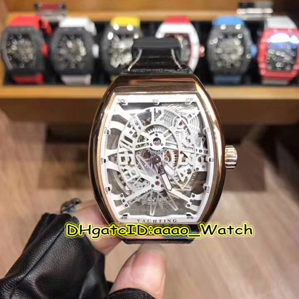 7 Style Luxury SARATOGA V45 T GR YACHT SQT Rose Gold Case Skeleton Dial Japan Miyota Automatic Mens Watch Leather Strap High Quality