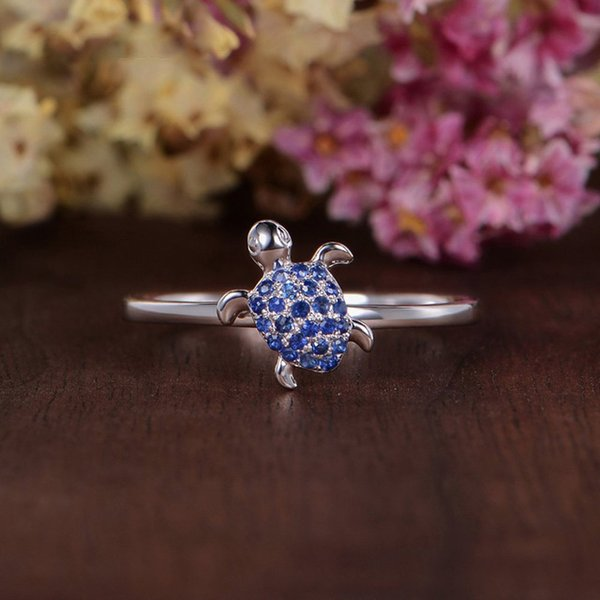 Blue Zircon Creative turtle finger rings for women cute girls party jewelry ladies Animal Anniversary ring size 6-10