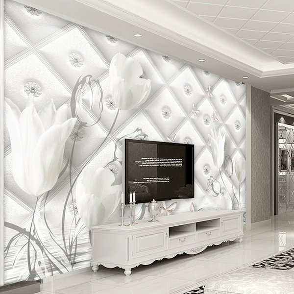 Custom 3D Photo Wallpaper Modern European Style White Calla Lily Flower Stereo Soft Bag TV Background Wall Paper Mural De Parede