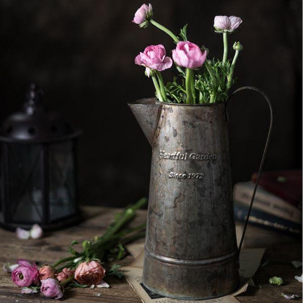 top popular Retro Old barrel Iron Flower Barrel Handles Multi-meat Flower Arrangement home vase basket 2021