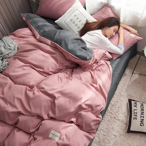 King Size Bedding Linens Luxury Cotton Bedclothes Solid Duvet Cover Sheet Pillowcase Pink Gray Bed Sets Single