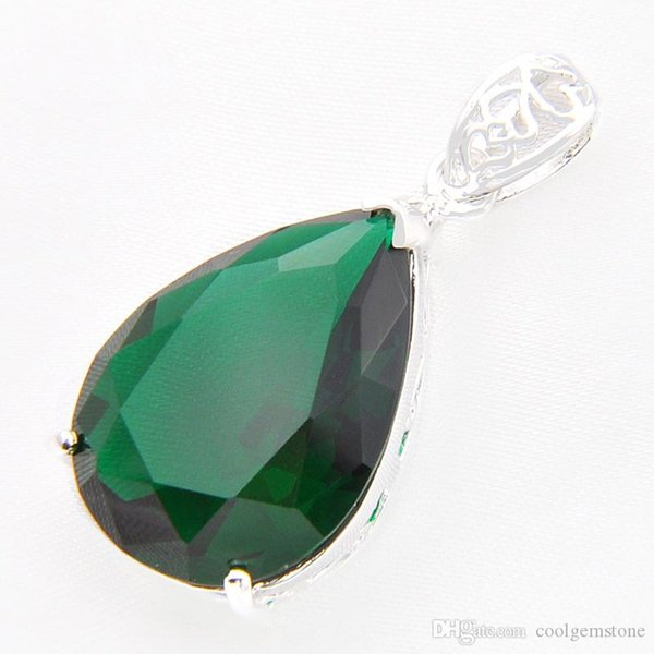 Free And Fast Shipping Luckyshine 3piece/lot 925 sterling silver Unique charm Sparkling green crystal pendant for lady party gift