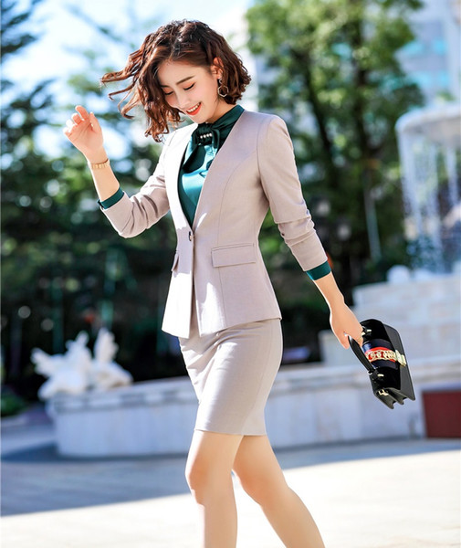 Novelty Apricot Formal Professional Business Suits With Skirt and Tops Women Office Work Wear Blazers Fashion OL Styles Outfits