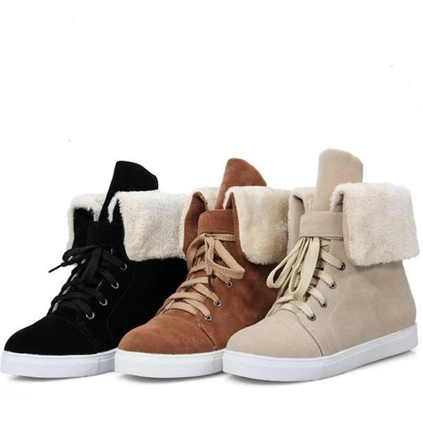 Nice Winter Pop Snow Female Boots Duantong Warm Lace Flat With Women Tide Shoes