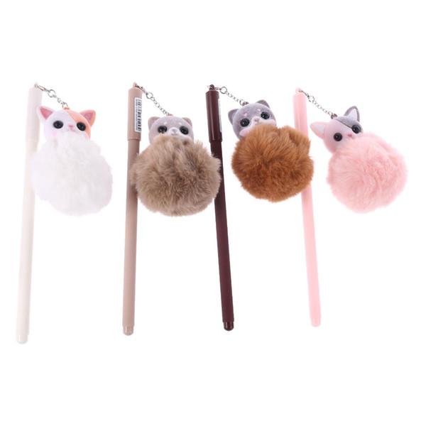 Simpatico gatto Kawaii Cat Plush Ball Ciondolo penna gel Papelaria 0,5 mm nero inchiostro scrittura regalo cancelleria forniture scolastiche per ufficio