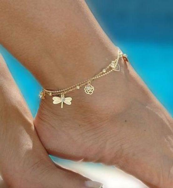 Gold Böhmische Fußkettchen Strand Fußschmuck Bein Kette Schmetterling Libelle Fußkettchen Für Frauen Barfuß Sandalen Knöchel Armband Füße YD0248