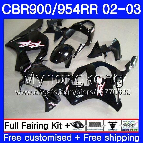 Corpo per HONDA CBR900RR Nero lucido caldo CBR 954 RR CBR900 RR CBR954 RR 280HM.30 CBR 900RR CBR954RR 02 03 CBR 954RR 2002 2003 Kit carene