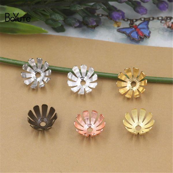Venta al por mayor BoYuTe (200 unidades / lote) 6 colores metal latón estampado 13 * 5 MM cuentas de flores de bricolaje joyas hechas a mano accesorios