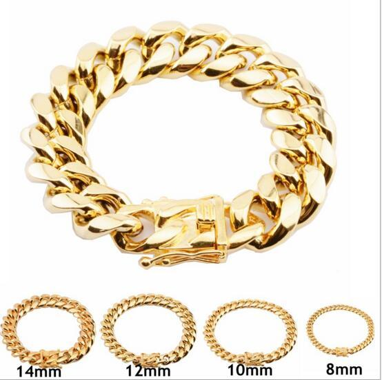 8mm/10mm/12mm/14mm/16mm/18mm Stainless Steel Bracelets 18K Gold Plated High Polished Miami Cuban Link Men Punk Curb Chain Butterfly Clasp