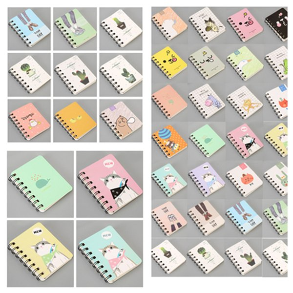 35style dos desenhos animados da bobina portátil Thicken Notebook criativa Livro Korean Student Bloco de notas papelaria 8 * 10,5 centímetros Student Suprimentos T2I5421