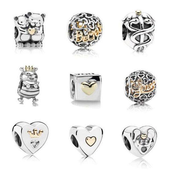 INS MOQ 20pcs Silver Key Flower Love Crown Hanging Bead Charms fit Original Pandora Bracelet Jewelry DIY B11