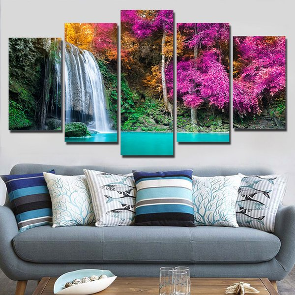 Canvas HD Print Wall Art Painting Modular Pictures 5 Panel Waterfall Forest Scenery Frame Poster Modern Home Decor Living Room