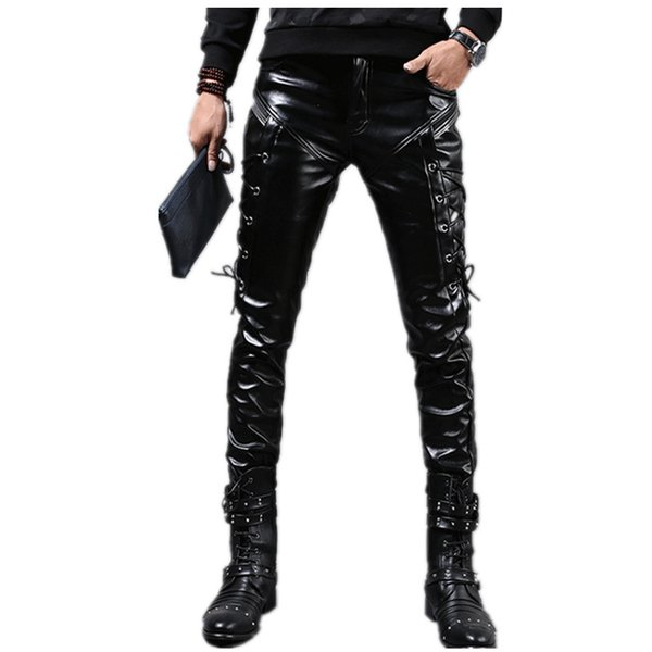 Wholesale- New Winter Mens Skinny Biker Leather Pants Fashion Faux Leather Motorcycle Trousers For Male Stage Club Wear Q2634