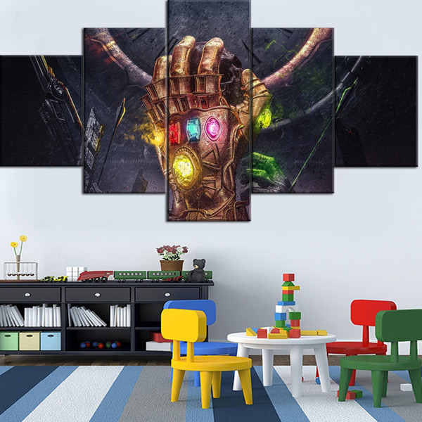 Movie Avengers Infinity Gauntlet Type,5 Pieces Canvas Prints Wall Art Oil Painting Home Decor (Unframed/Framed)