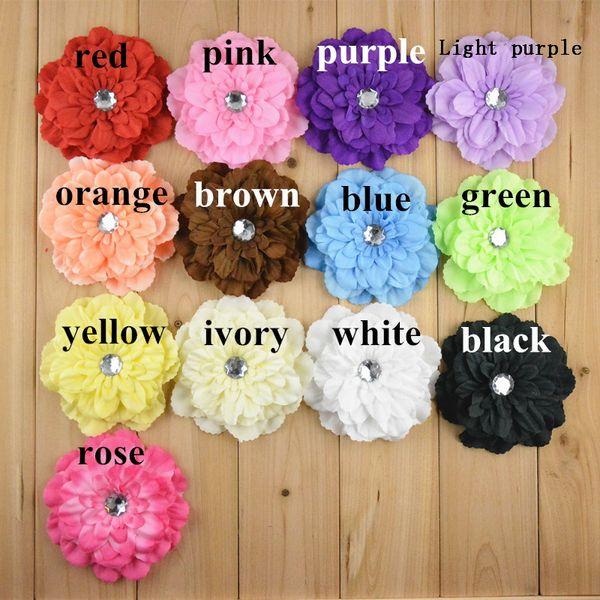 "100pcs girl 4"" peony flower hair clip baby beautiful flowers barrettes for girl headbands headwear hair accessories"