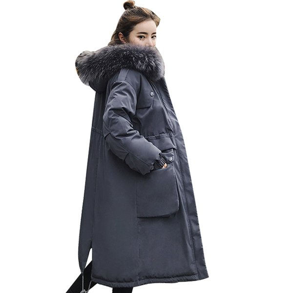 WMSWJH Winter Jacket Women 2018 Middle Long Cotton-padded Jackets Big Fur Collar Hooded Parkas Thicken Warm Winter Coat Female
