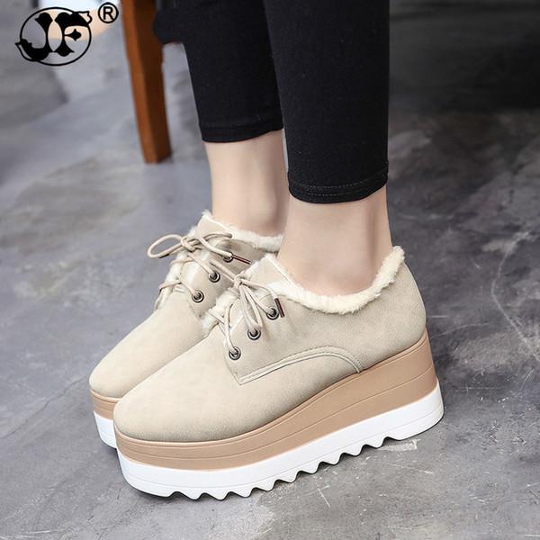 2018 Spring Autumn Shoes Woman Classic Black Suede Lace Up Platform Shoes Flats Creeper Shoes Women Boots fgb56