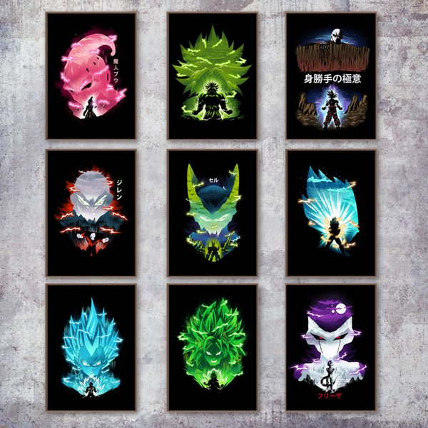 Super Son Goku Vegeta Majin Buu Broly Jiren Anime Poster e stampa Wall Art Canvas Painting Wall Pictures Home Decor