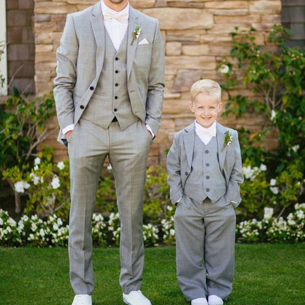 Gray Boy Suits 2019 Two Button Shawl Lapel Slim Fit Kids Wedding Tuxedos For Boy Three Piece suits (Jacket+Pants+Tie)