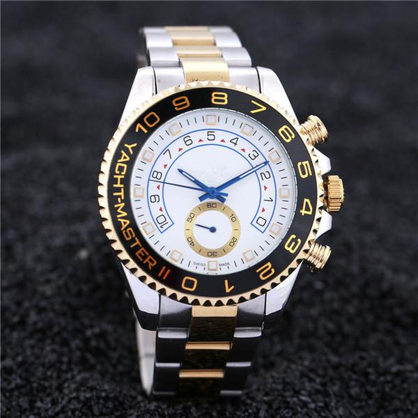 2019 Reloj de hombre de lujo, de calidad superior, de acero inoxidable, mecánico automático para caballero. Reloj dorado y plateado negro para hombre de 44 mm.