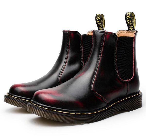 Chaud! hiver nouveau unisexe martin bottes 34-46 glisser sur la cheville chaussures bottes en cuir véritable vache muscle unique lacer des chaussures pour hommes