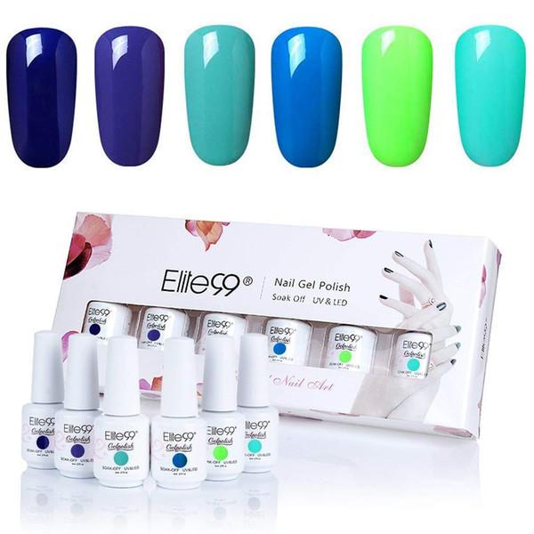 best selling Elite99 6 Color UV Gel Nail Polish Gift Box Kit Soak Off Gel Varnish Semi Permanent Stamping Enamel Lacquer Nails Gelpolish Set