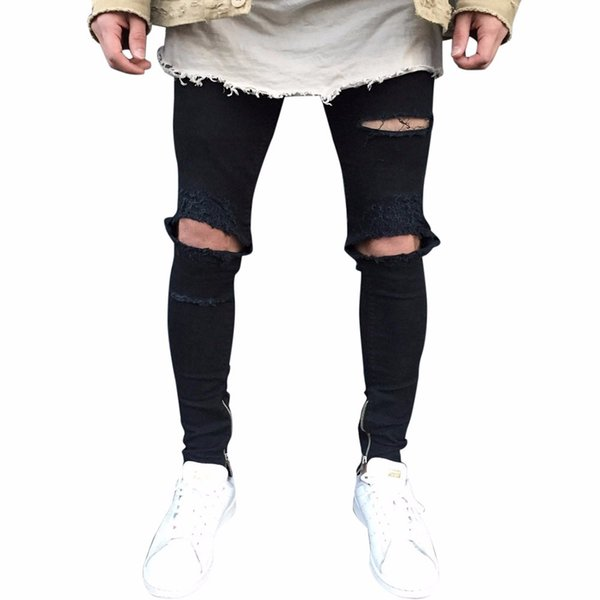 New Mens Ripped Slim Fit Motorcycle Vintage Denim Jeans Hiphop Streetwear Pants Calca Jeans Masculina Ripped For Men 5