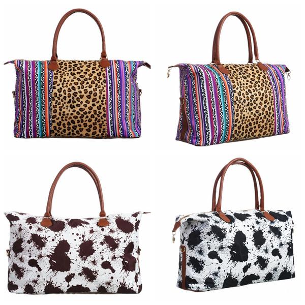 Listra de leopardo Mulheres Bolsa Sacola Ocasional 37 * 57 cm mulheres de viagem Hangbag Casuais Bolsa Tote das Mulheres Weekenders Saco LJJK1715