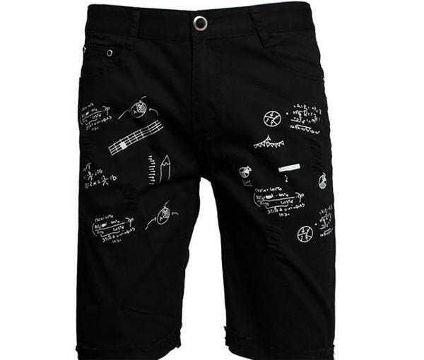 Летние Мужчины Граффити Короткие Джинсы Мода Длина До Колена Дизайнер Выдалбливают Печатных Джинсовые Брюки Мужские Свободные Джинсы Шорты