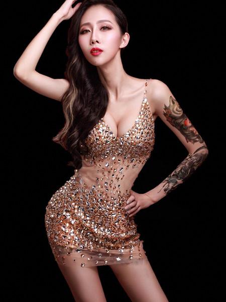 2019 New Deep V vestido de gola Cristais sexy feminino traje traje de palco para bar partido palco cantor dançarino estrela show de desempenho boate