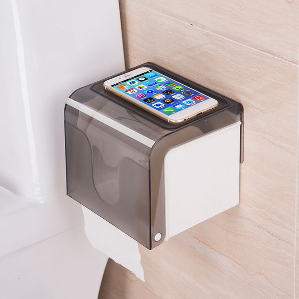 Paper Dispenser Waterproof Wall Mounted All Covered Mobile Phone Shelves Bathroom Toilet Roll Tissue Holder Box Self-Adhesive