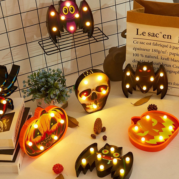 best selling New Halloween Lamp Plastic Pumpkin Bat Ghost Night Light Halloween Lamp for Home Bar Dining Decoration HHA775