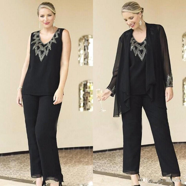 Black Chiffon Formal Pant Suits For Mother Groom Dresses Evening Wear Long Mother of the Bride Dresses With Jackets 3 Piece Plus Size Custom