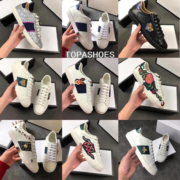 Оптовые Новые Дизайнерские туфли 100% Ace кожаные кроссовки мужчины женщины Классич