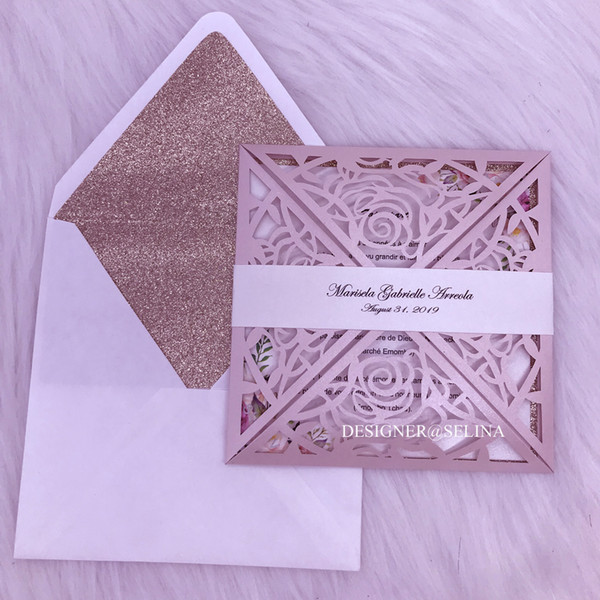 Light Pink Laser Cut Wedding Invitations with Belt and Glitter Envelope DIY Rose Gold Glitter Floral Invitations for Quinceanera XV Birthday