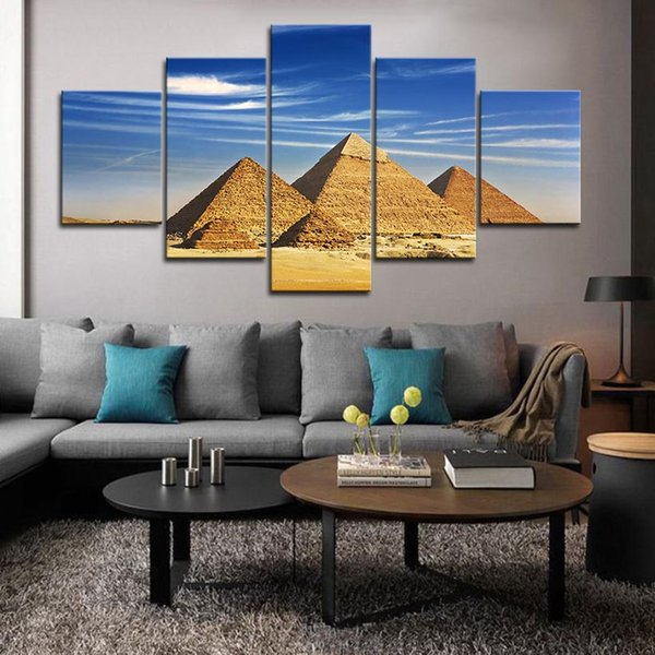 5PCS Framed Wall art The Pyramids Of Egypt Wall Art Pictures for Livingroom Decor Posters and Prints Canvas Painting