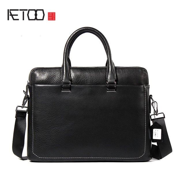 AETOO 2017 new leather men's first-class cowhide portable briefcase oblique cross package business package #706254