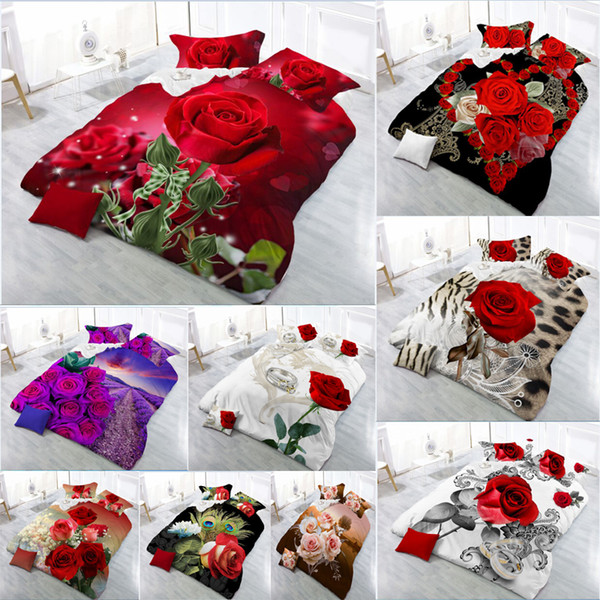 New Beautiful 3D Flower Rose Feast Pattern Bedding Set Bed sheets Duvet Cover Bed sheet Pillowcase 4pcs/set10