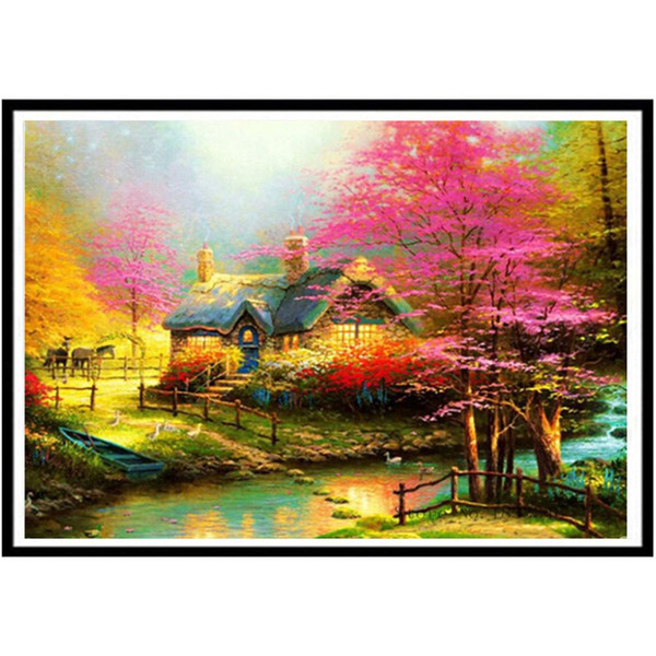 Beautiful Scenery Resin Pasted Wall Art Decor DIY 5D Diamond Painting Tool Kit hot Home Decor