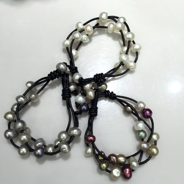 bracelet Casual sporty Baroque Natural Fresh water bracelet black leather 10MM some spots or hole on the pearl surface