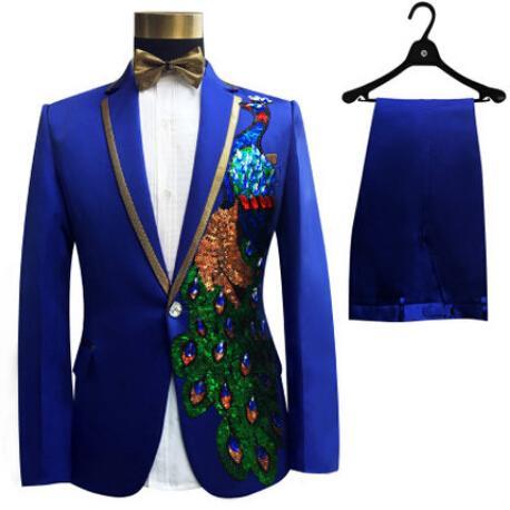 S-4XL Men Suits Sequins Peacock Pattern Jacket Pants Slim Black Blue Paillette Embroidered Male Singer Party Prom SUITS