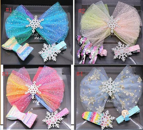 3-Pack Princess Hair Bows Clip Horquillas Accesorios Caja de regalo para niñas Lentejuelas Bow Glitter Clip para el cabello Unicorn Design Barrettes Todder Kid Regalo