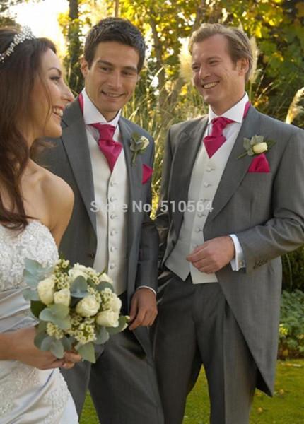 PERSONALIZADOS A MEDIDA Tuxedos / colas a medida, traje gris para hombres, abrigo de boda para hombres