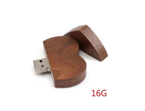 16/32/64GB USB 2.0 Pen Drive Flash Drive Pendrive Memory Stick/Wooden Heart Gift IVN