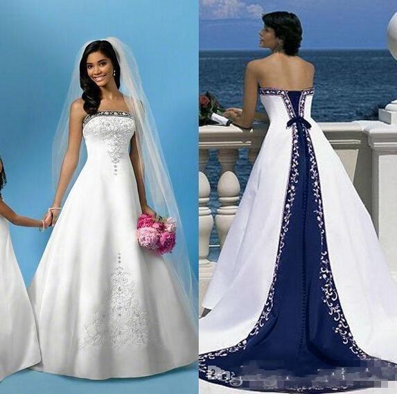 Venta caliente una línea blanca y azul de la boda de playa de los vestidos de raso bordado sin tirantes de tren capilla del corsé Iglesia encargo vestidos de novia más el tamaño